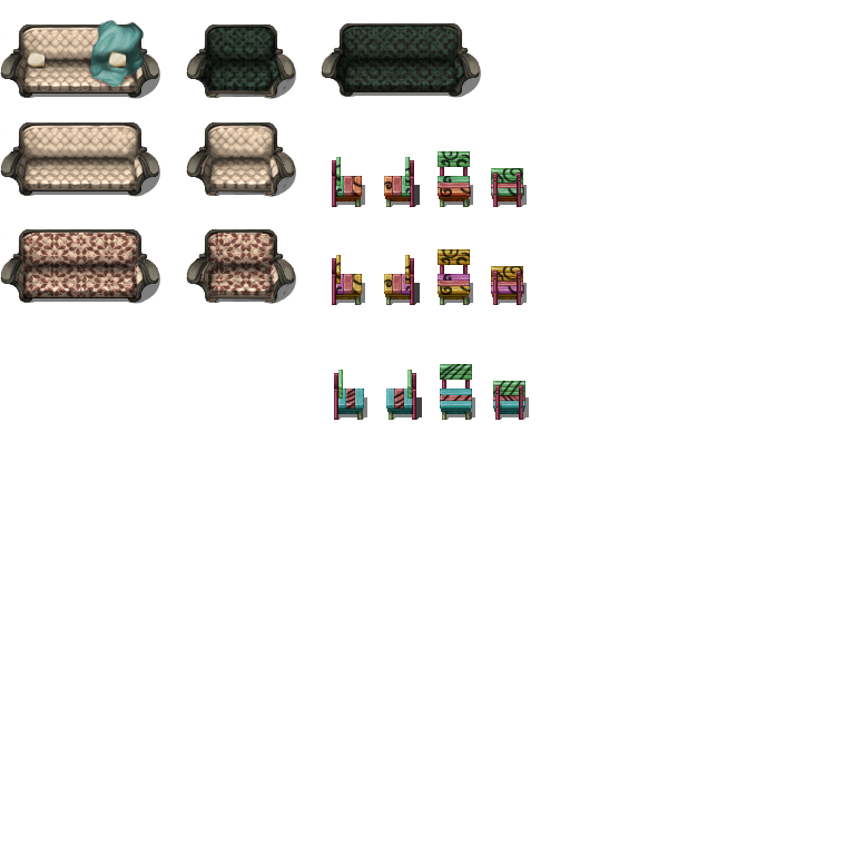 Modern Sofas and Chairs - RPG TileSet Free Curated Assets