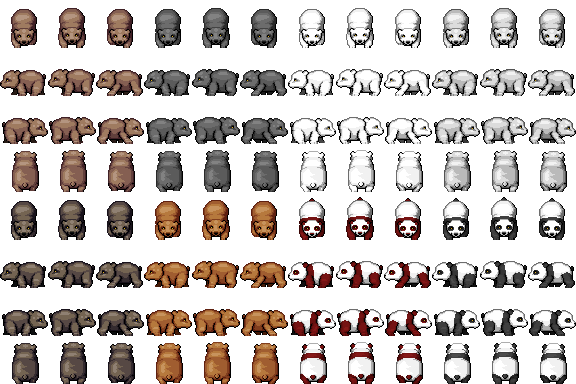 Bear Cubs and Pandas Sprites