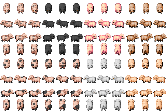 Pigs Sprite 2 - RPG TileSet Free Curated Assets for your RPG