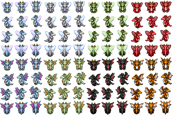 Cute fat lil' dragons sprite - RPG TileSet Free Curated
