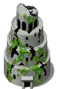 Babel Tower in ruin with vegetation