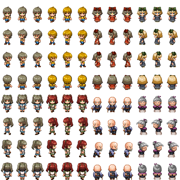 People Tall Sprite Recolored - RPG TileSet Free Curated