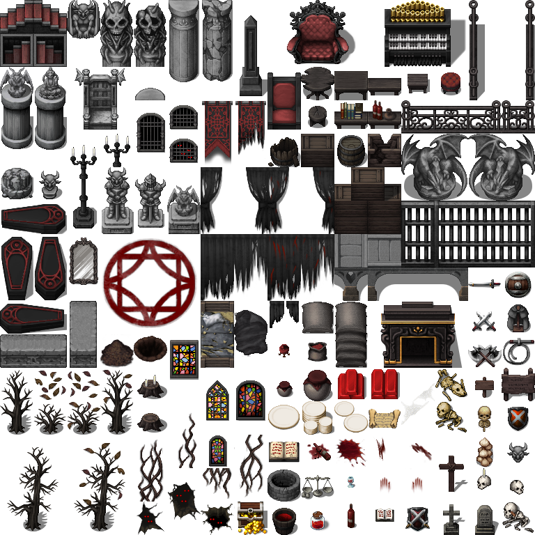Gothic Dungeon Tileset - RPG TileSet Free Curated Assets for